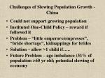 challenges of slowing population growth china
