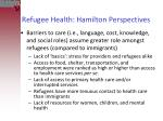 refugee health hamilton perspectives