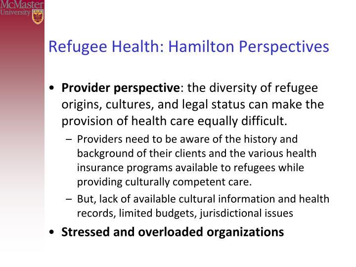 Refugee Health: Hamilton Perspectives