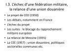 i 3 l chec d une f d ration militaire la relance d une union douani re
