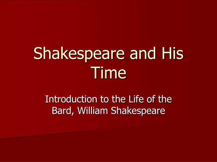 shakespeare and his time n.