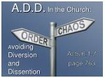 a d d i n the church