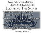 every believer is a minister 1 cor 12 14 rom 12 3 8