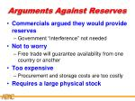 arguments against reserves