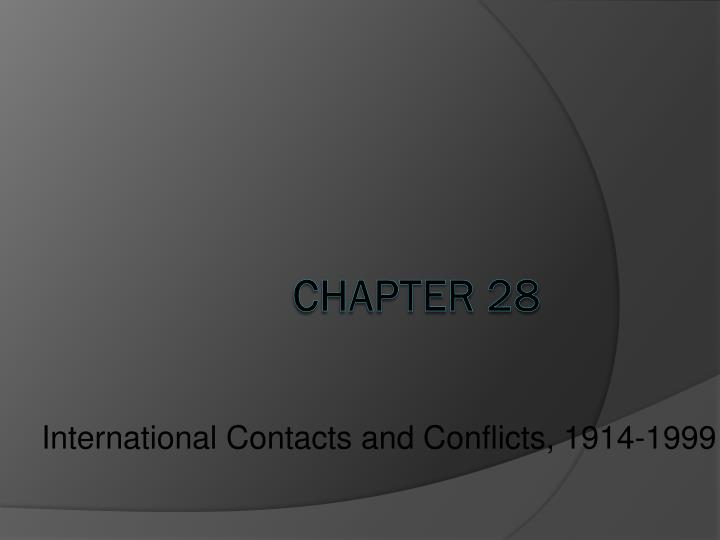 international contacts and conflicts 1914 1999 n.