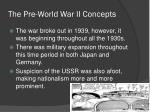 the pre world war ii concepts