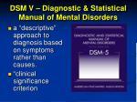 dsm v diagnostic statistical manual of mental disorders1
