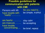 possible guidelines for communication with patients with cmi