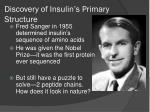 discovery of insulin s primary structure