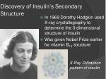 discovery of insulin s secondary structure