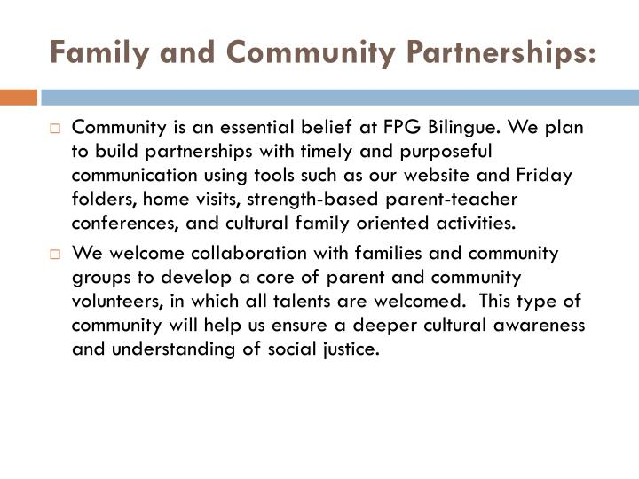Family and Community Partnerships: