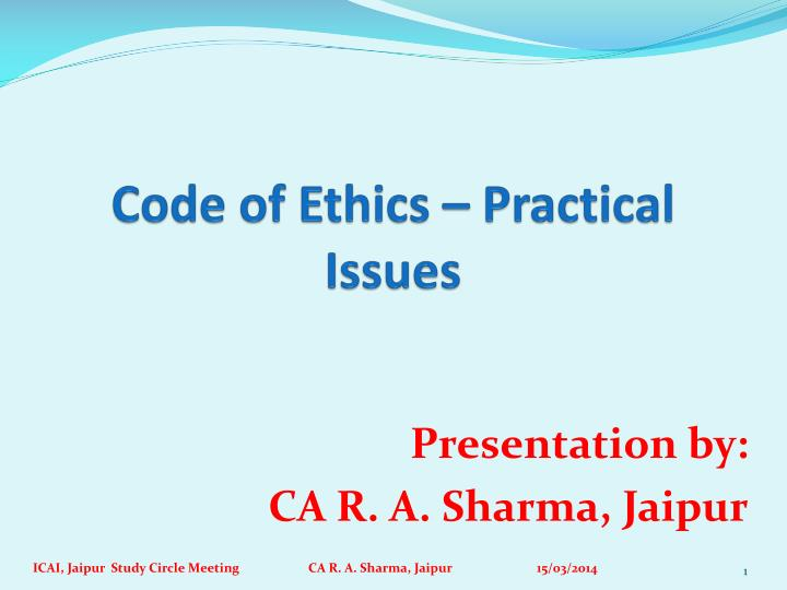 code of ethics practical issues n.