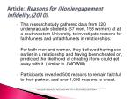 article reasons for non engagement infidelity 2010