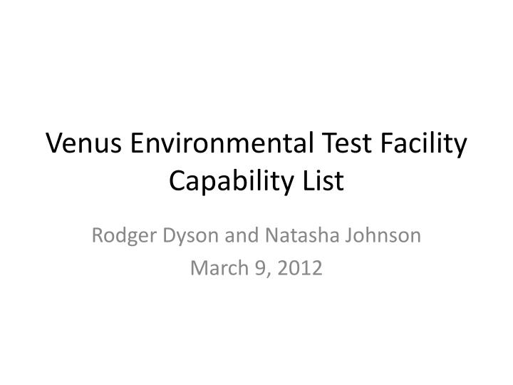 venus environmental test facility capability list n.