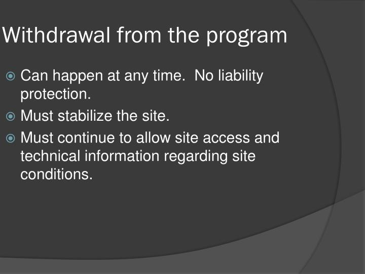 Withdrawal from the program