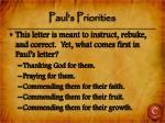 paul s priorities