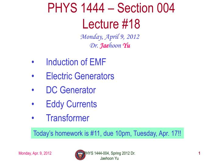 phys 1444 section 004 lecture 18 n.