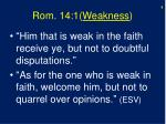 rom 14 1 weakness