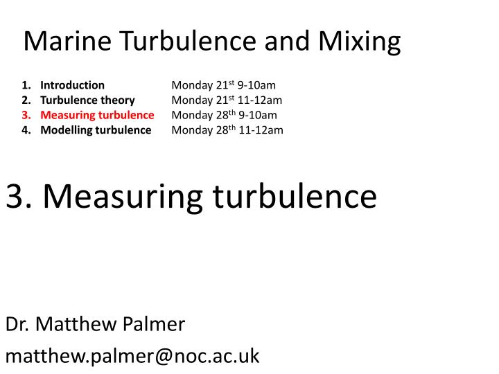 marine turbulence and mixing n.
