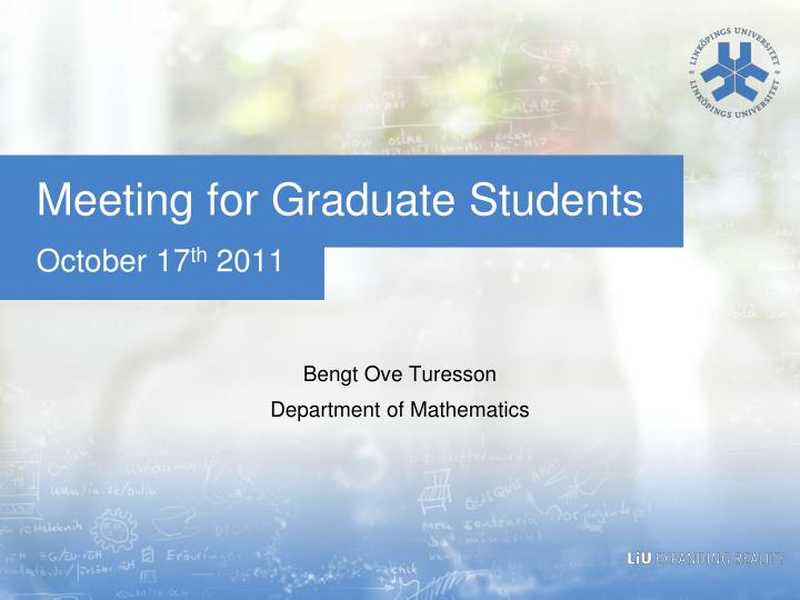 meeting for graduate students n.