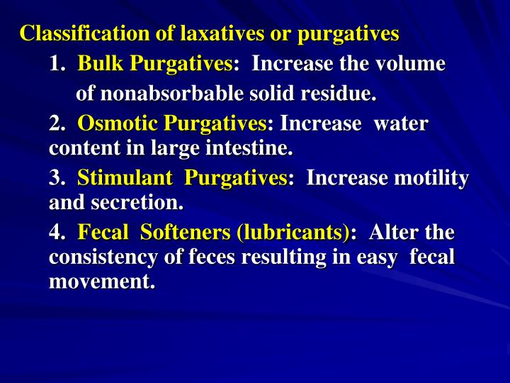 Classification of laxatives or purgatives