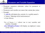 parameter and variable expansion