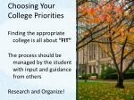 choosing your college priorities