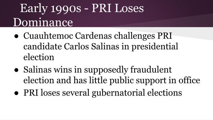 Early 1990s - PRI Loses Dominance