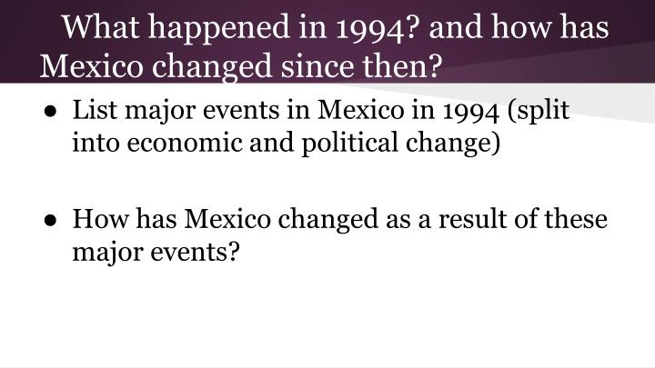 What happened in 1994? and how has Mexico changed since then?