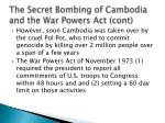 the secret bombing of cambodia and the war powers act cont