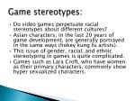 game stereotypes