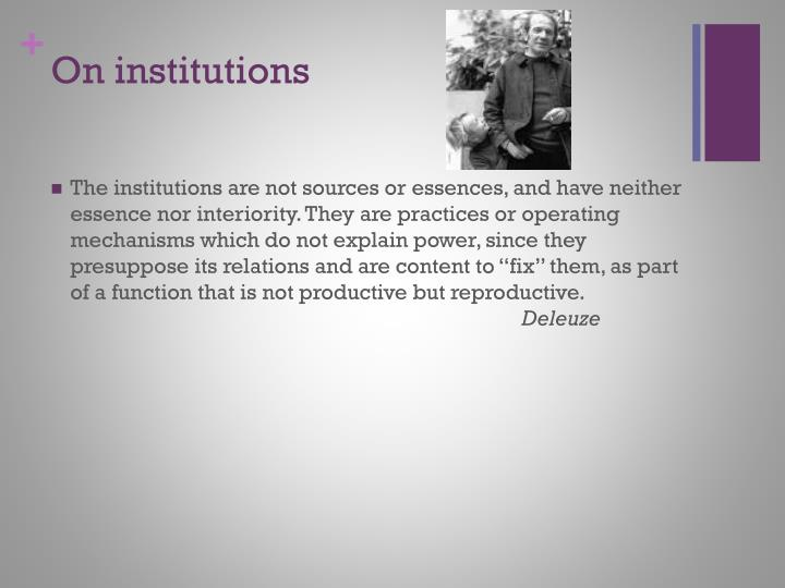 On institutions