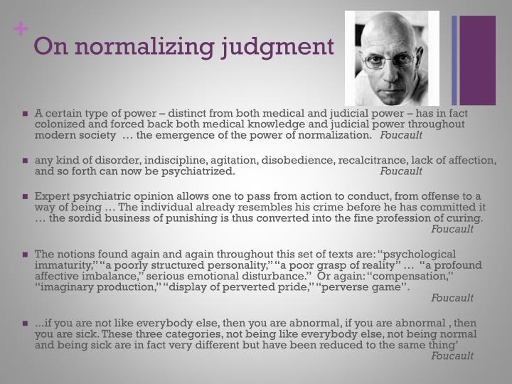 On normalizing judgment