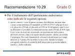 raccomandazione 10 29 grado d