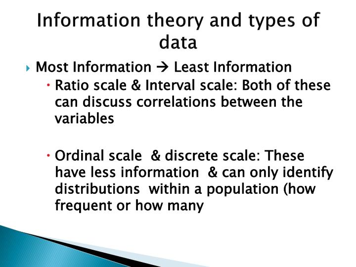 Information theory and types of data
