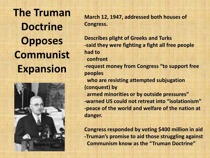 The Truman Doctrine Opposes Communist Expansion