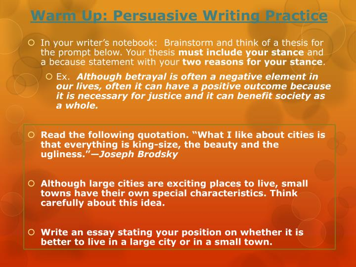 warm up persuasive writing practice n.