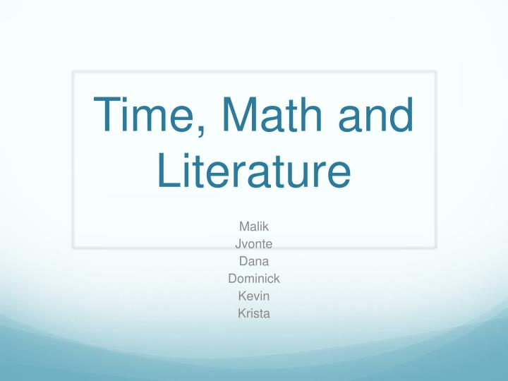 time math and literature n.