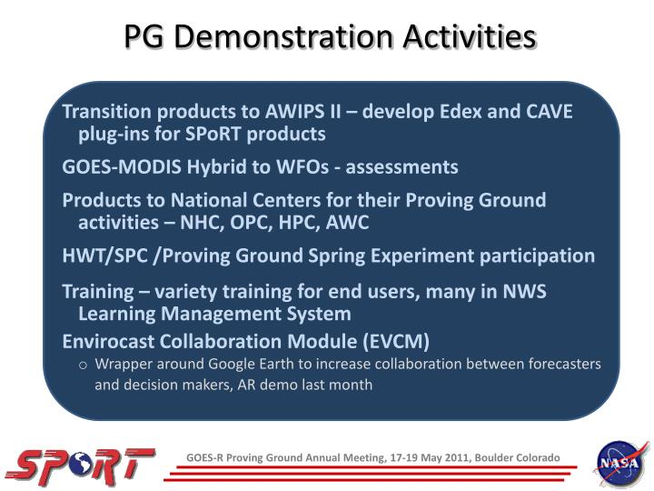 PG Demonstration Activities
