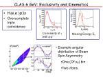 clas 6 gev exclusivity and kinematics