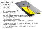 unraveling dvcs observables