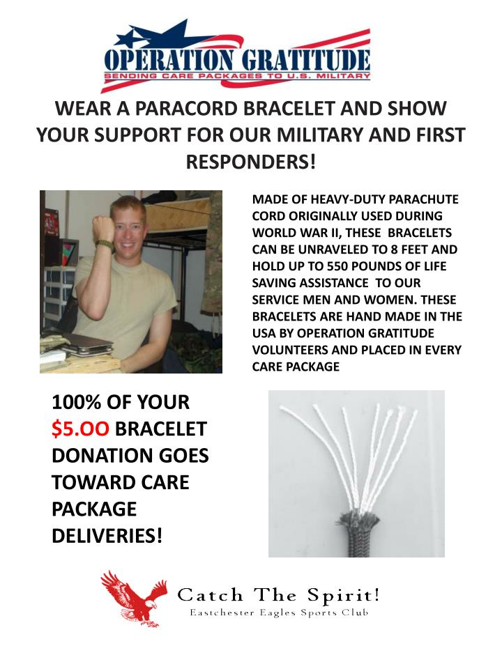 100 of your 5 oo bracelet donation goes toward care package deliveries n.