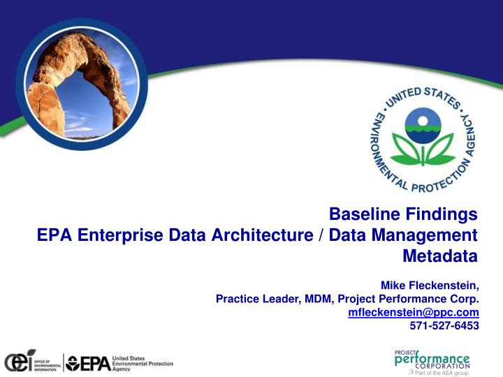 baseline findings epa enterprise data architecture data management metadata n.