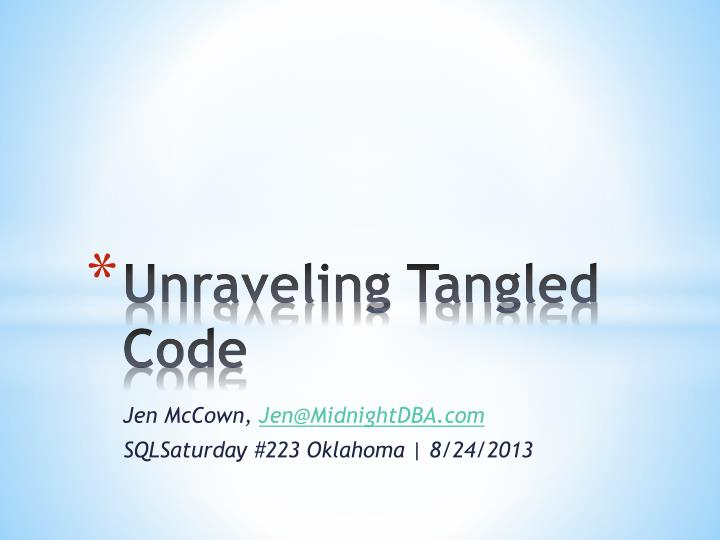 unraveling tangled code n.