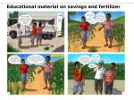 educational material on savings and fertilizer