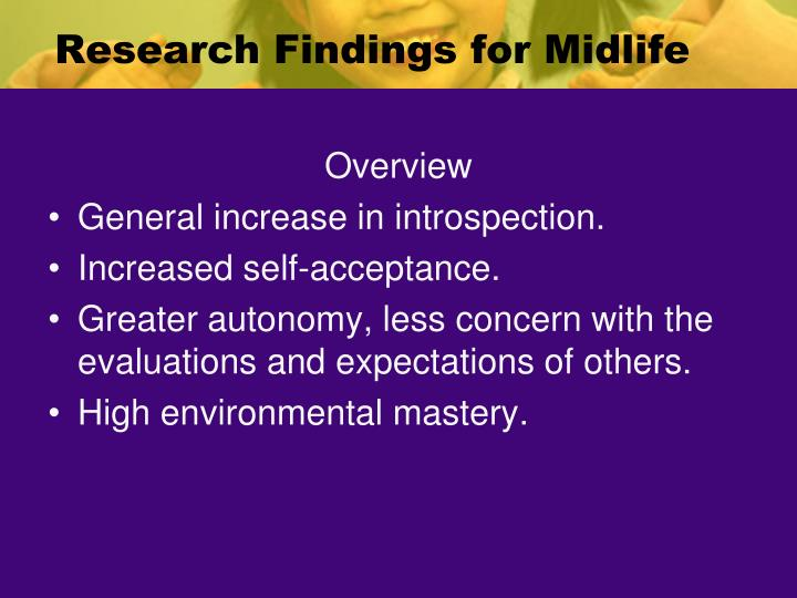 Research Findings for Midlife