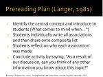 prereading plan langer 1981