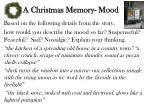 a christmas memory mood