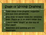 stage of writing drafting