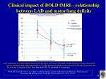 clinical impact of bold fmri relationship between lad and motor lang deficits